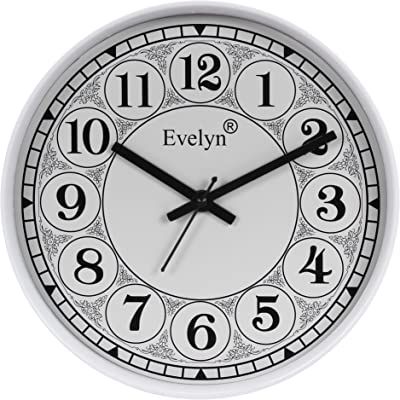 Evelyn Round Wall Clock with Glass for Home/Bedroom/Living Room/Kitchen Evc-86