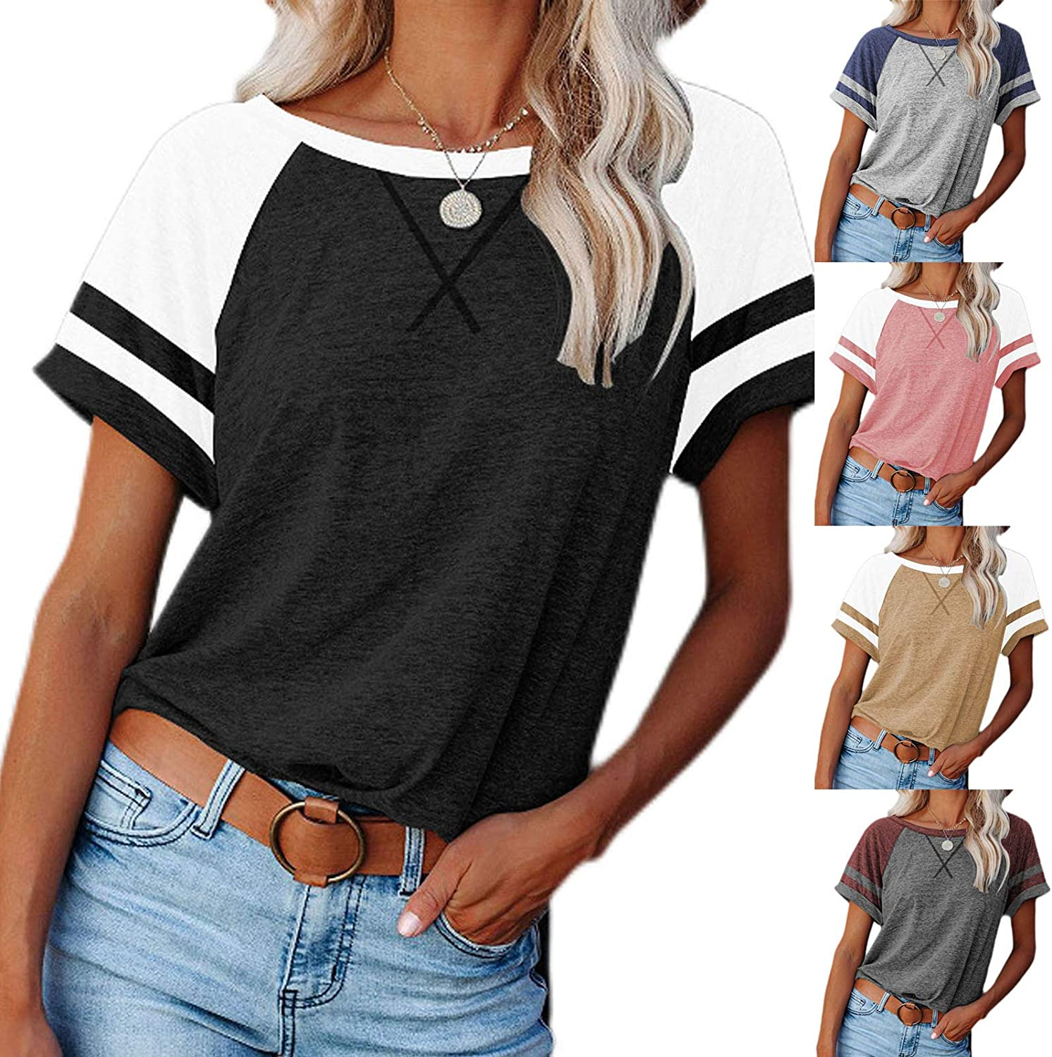 Tops for Women Color Splicing Short Sleeve Summer Crewneck Easy T Shirts Casual Workout Blouses Tee