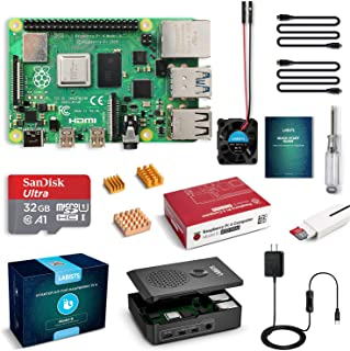 LABISTS Raspberry Pi 4 Complete Starter Kit with Pi 4 Model B 4GB RAM Board, Special Designed Case, 32GB SD Card with Prel...