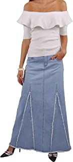 Sassy Fringed Long Denim Skirt