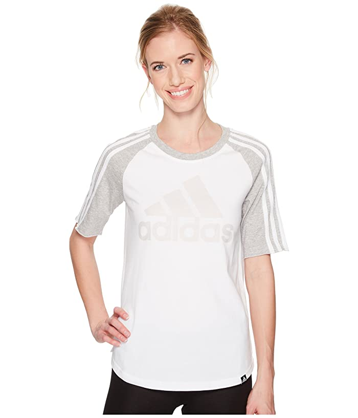 adidas Badge of Sport Baseball Tee (White/Medium Grey Heather) Women