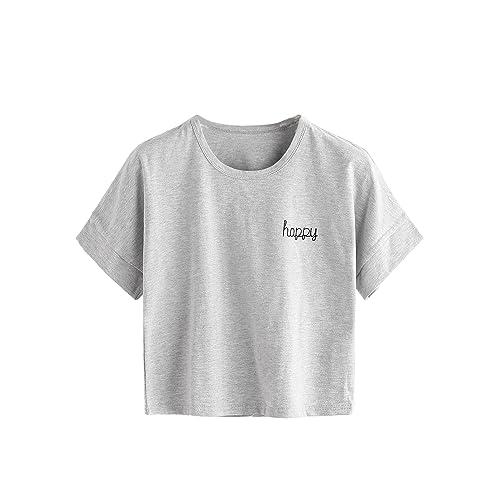 52790b70b MAKEMECHIC Women's Short Sleeve Cute Print Crop Top Summer Tee Shirt