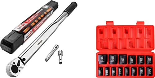 discount EPAuto 2021 1/2-Inch Drive Click outlet sale Torque Wrench + EPAuto 1/2-Inch Drive Metric Shallow Impact Socket Set, Cr-V outlet sale