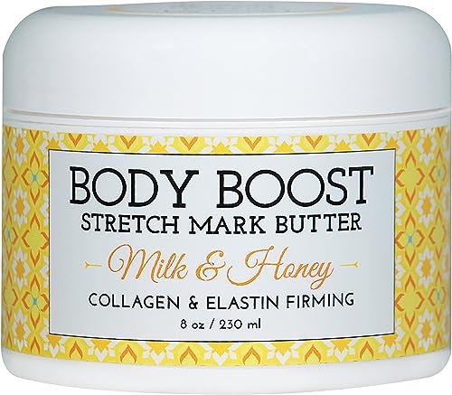 Body Boost Milk & Honey Stretch Mark Butter 8 oz.-Treat Stretch Marks and Scars- Pregnancy and Nursing Safe- Allergen...