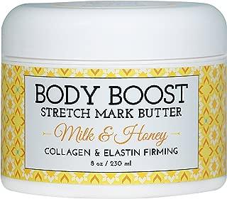 Body Boost Milk & Honey Stretch Mark Butter 8 oz.-Treat Stretch Marks and Scars- Pregnancy and Nursing Safe- Allergen Free
