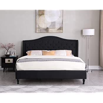 Amazon Com Home Life Black Cloth Linen Curved Hand Diamond Tufted And Nailed 51 Tall Headboard Platform Bed With Slats King 5 Year Warranty 013 Kitchen Dining