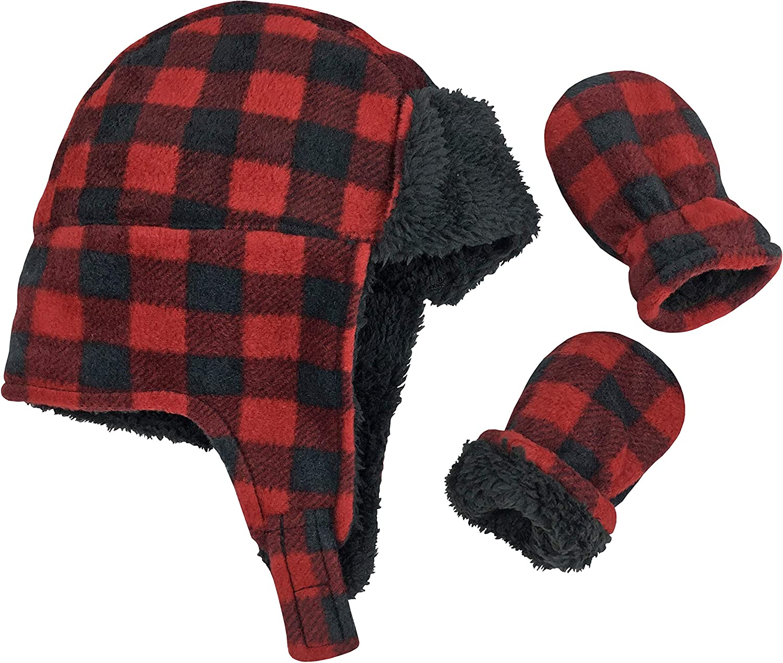 N'Ice Caps Little Boys and Ranking TOP4 Baby Buffalo San Antonio Mall Trooper Fleece Hat Plaid
