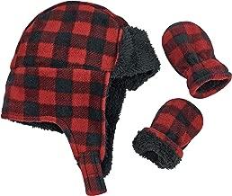 N'Ice Caps Little Boys and Baby Buffalo Plaid Fleece Trooper Hat Mitten Set
