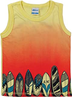 222c0fbf18 CAMISETA INFANTIL BEBÊ MENINO REGATA MANGA CURTA SURF NA PRAIA AMARELO  ALENICE