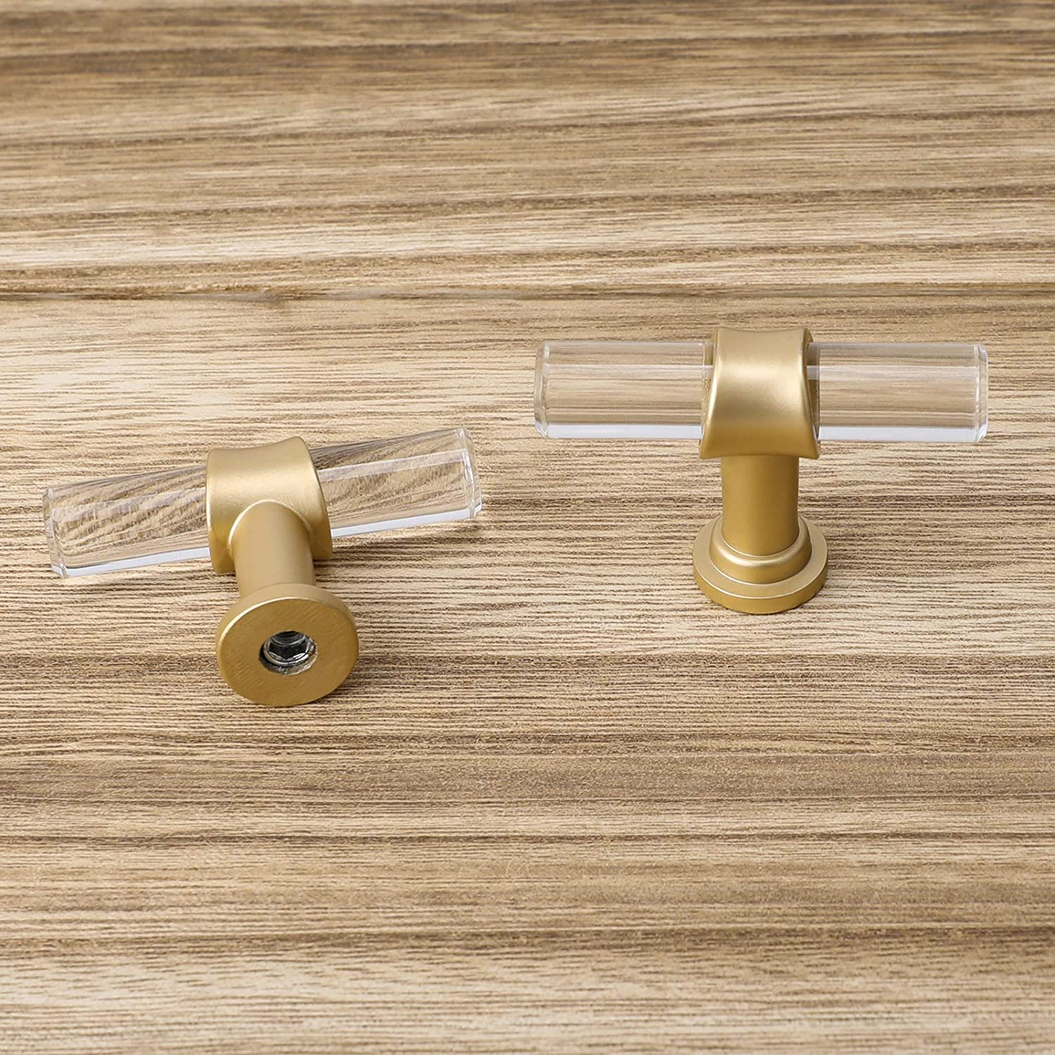 Clear Acrylic Pulls Drawer Handles Gold Kitchen Hardware Pull for Cabinet 5 Pack-Haliwu//3 inch Dresser Pulls