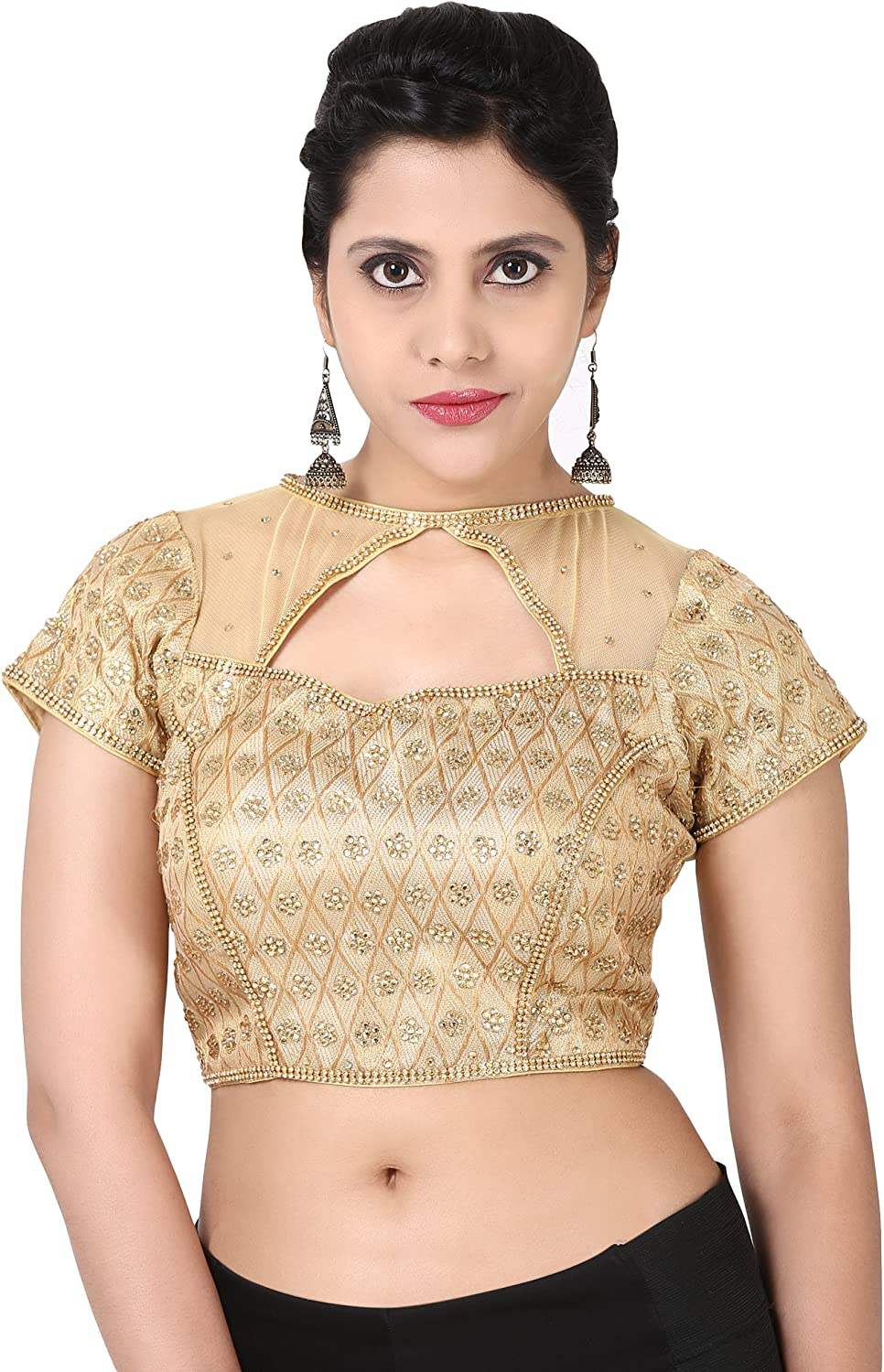 Ethnic Designer Ready made saree blouse Top Choli Stone Work Party Wear Ceremony Women