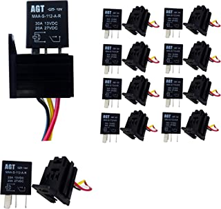 GENSSI Car 30A 12V SPST Micro Relay Kit For Electric Fan Fuel Pump Light Horn 4Pin (10 Pack)
