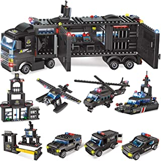 2020 Pieces City Police Station Building Kit, SWAT Mobile Command Center Truck Building Toy with Police Cars, Helicopter, ...