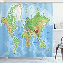 Ambesonne World Map Shower Curtain, Topographic Map of The World Continents Countries Oceans Mountains Educational, Cloth Fabric Bathroom Decor Set with Hooks, 70