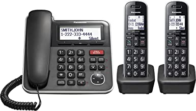 $69 » Panasonic Expandable Corded/Cordless Phone System with Answering Machine and One Touch Call Blocking – 2 Handsets - KX-TGB...
