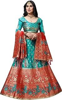 Mansvi fashion women's Banarasi silk Jacquard lehenga choli (free size and semi-stitched).