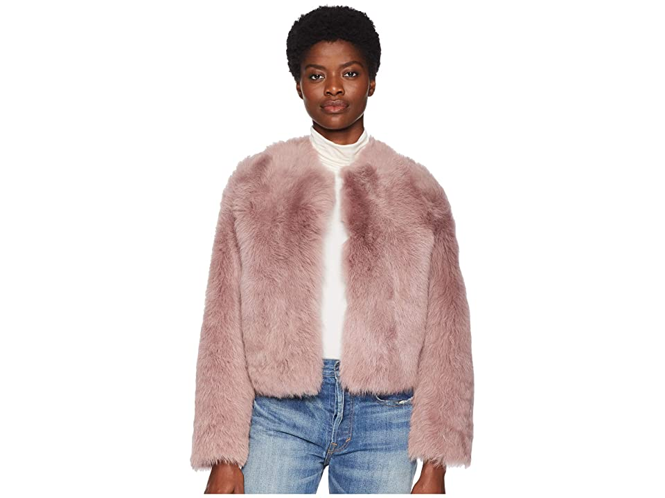 Vince Cropped Shearling Jacket (Mauve Pink) Women