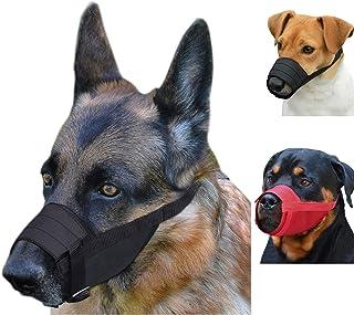 CollarDirect Adjustable Dog Muzzle Small Medium Large Dogs Set 2PCS Soft Breathable Nylon Safety Dog Mouth Cover Anti Biti...