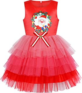 Sunny Fashion Girls Dress Birthday Princess Ruffle Dress Cake Balloon Print Size 3-10 Years