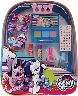 Backpack Cosmetic Set, Includes: Lip Gloss Compact, Hair Bows, Nail Polish, Nail File, Lip Balm, Toe Spacer, Nail Stickers (My Little Pony)