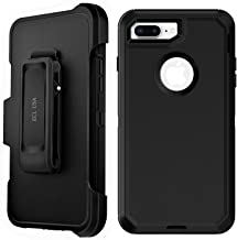 ECL USA The Eagle Case for Apple iPhone 7 Plus and iPhone 8 Plus Case Cover with Belt Clip Kickstand Holster and Built-in Screen Protector (Plus ONLY)(Black/Black)
