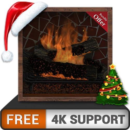 romantisches firefly und gratis kamin - wärmen sie sich in den winterferien und genießen sie weihnachten auf ihrem hdr 8k 4k tv und feuergeräten als wallpaper & theme für mediation & peace