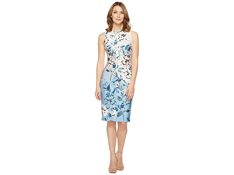 Vince Camuto Floral Printed Sleeveless Bodycon Dress (Blush Multi) Women