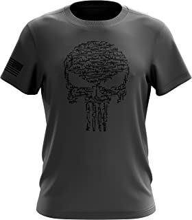 Punisher USA Blue Line American Flag Military Gun Army Mens T-Shirt Made in USA