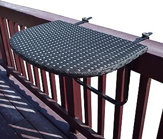 Oakland Living AZ52-BALCONY-TABLE-BK Balcony Railing Wicker Table, Black