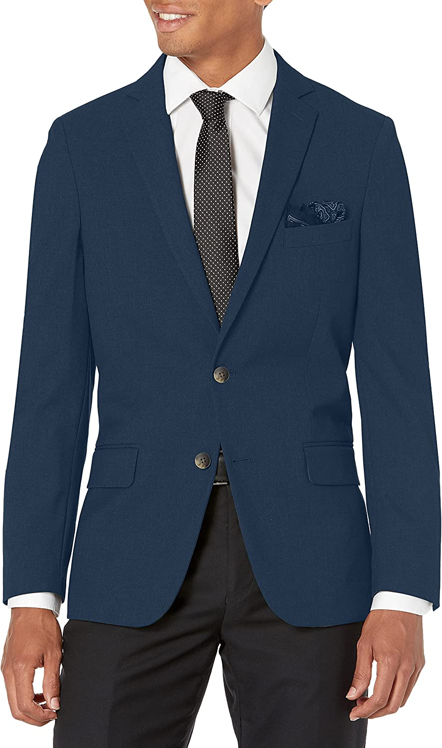 J.M. Haggar 4-Way Stretch Solid 2-Button Slim Fit Suit Separate Coat, Blue, 40XL