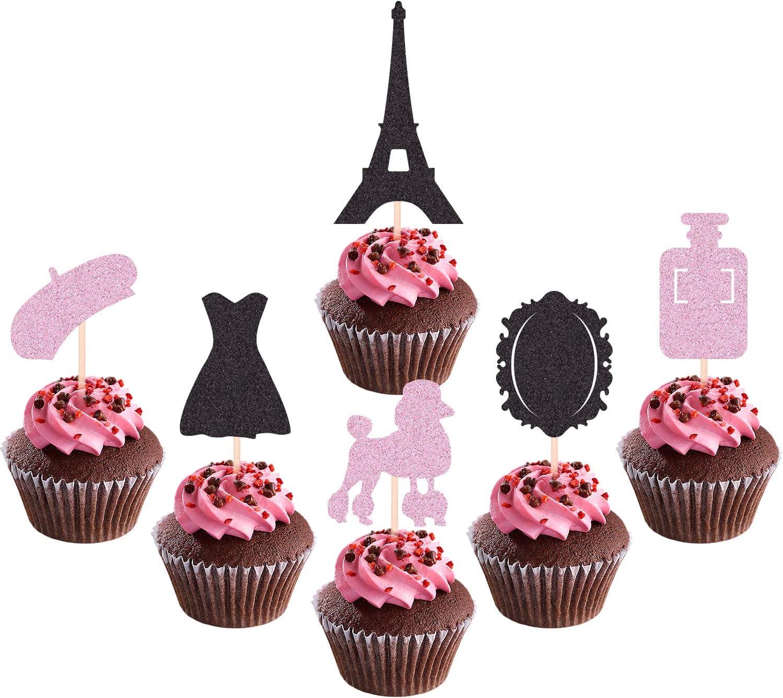 Amazon Com 30pcs Paris Eiffel Tower Cupcake Toppers Ooh La La Dessert Cake Topper Paris Themed Baby Shower Birthday Party Supplies Favor Decorations Picks Grocery Gourmet Food