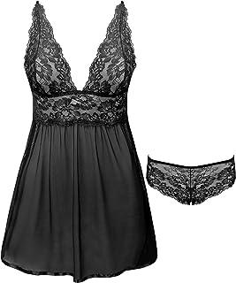 Joyaria Lace Babydoll Lingerie Set Womens Mesh Nighties S-XXL
