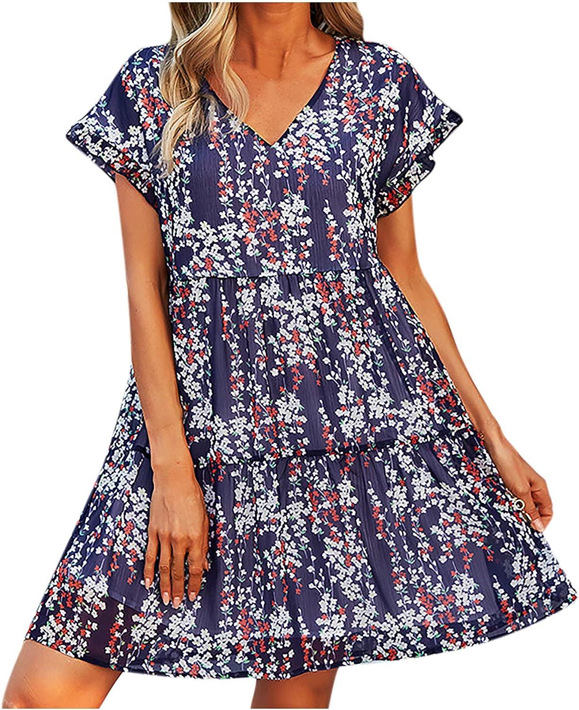 GOODTRADE8 Dresses Maxi Dress Summer Dress Sundress Women Print Short Sleeve V-Neck Casual Knee-Length Dress