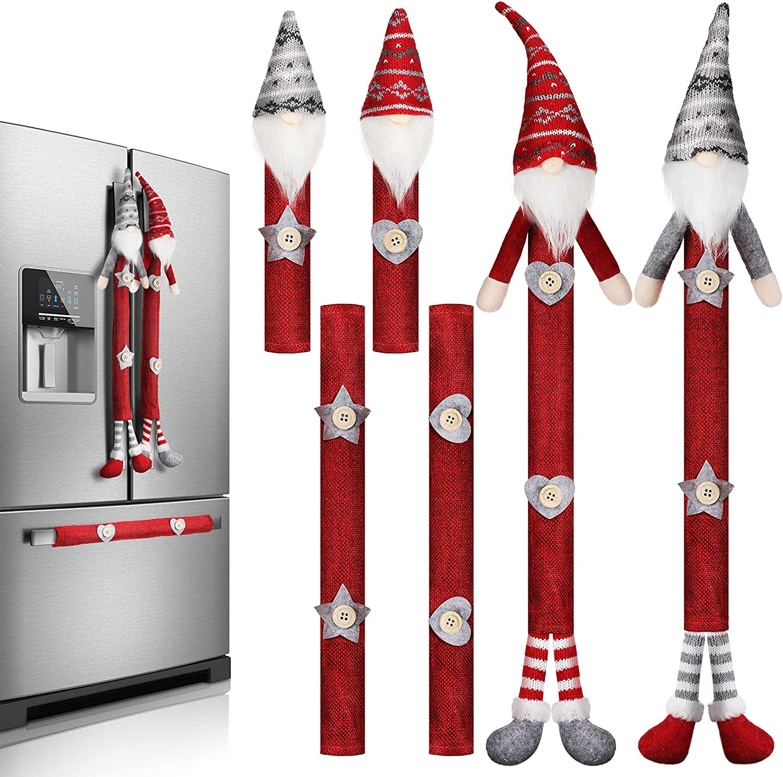 6 Pieces Christmas Refrigerator Handle Covers Tome Gnome Refrige