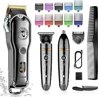 برش موی بی سیم Hatteker Hair Clipper Barber Clipper T-Blade Trimmer Beard Trimmer اصلاح کننده بینی مو برش مو کیت نظافت IPX7 حرفه ای ضد آب
