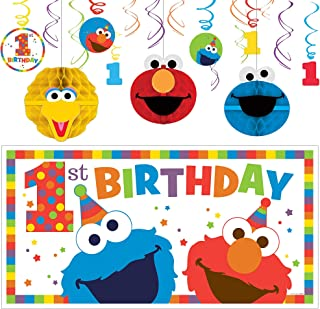 Party City Sesame Street 1st Birthday Elmo Decorating Supplies Include 12 Swirl Decorations Honeycombs