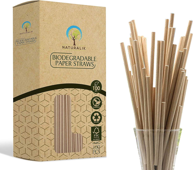 Naturalik Arlington Mall 100-Pack Extra Durable Biodegradable Max 63% OFF Straws Dy - Paper