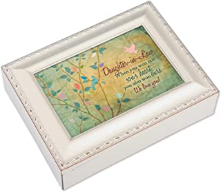 Cottage Garden Daughter-in-Law Ivory Finish with Brushed Gold Color Trim Jewelry Music Box - Plays Song You Light Up My Life