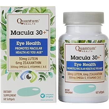 Quantum Health Macula 30+ Softgels, Eye Supplement, Macular Health - Lutein, Zeaxanthin, Vitamin C and E, Omega 3, Zinc - 60 Count