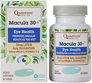 Quantum Health Macula 30+ Softgels, Eye Supplement, Macular Health - Lutein, Zeaxanthin, Vitamin C and E, Omega 3, Zinc - ...
