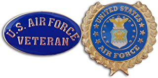 U.S Air Force Veteran & Wreath 2-Piece Lapel Pin or Hat Pin & Tie Tack Set with Clutch Back by Novel Merk