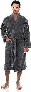 Men's Plush Spa Robe Fleece Kimono Bathrobe