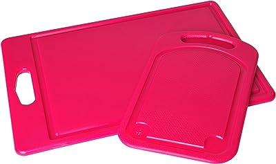 P. ZAZZ 105–2O 2-Piece Poly Tabla de cortar set, 6por 10-Inch y 10por 14-Inch, Rosado