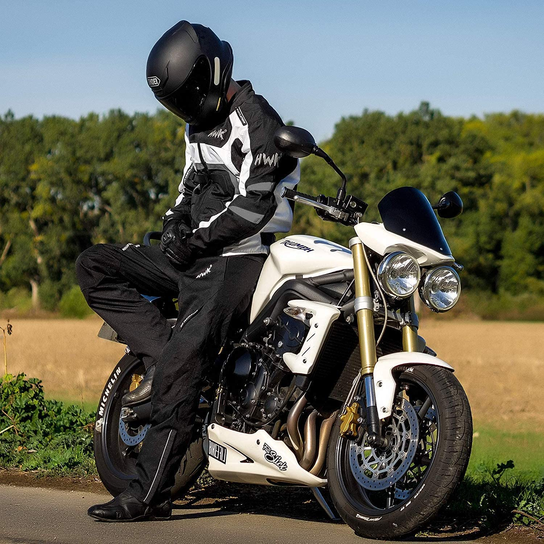 Textile Motorcycle Jacket For Men Dualsport Enduro Motorbike Biker Riding Jacket Breathable CE ARMORED WATERPROOF (Black, XL) : Automotive