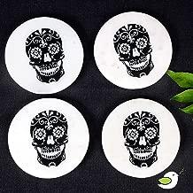 Ecstassy Handmade Round Marble Drink Coasters Set of 4 | Stone Coaster | Coasters for Drink | Coaster Set | Stone Coaster Set | Skull Printed Coaster | Black and White Coaster set