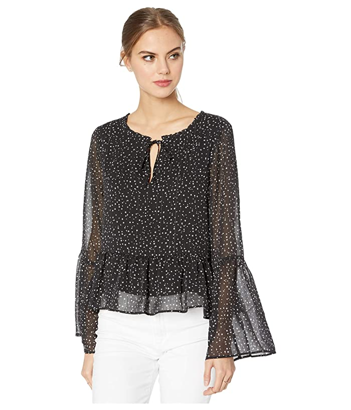 Cupcakes and Cashmere  Mandy Night Sky Lurex Striped Chiffon Peasant Top (Black) Womens Blouse