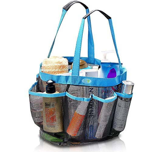 ELV Mesh 8 Compartments Shower Caddy Hanging Toiletry and Bath Organizer (Blue)
