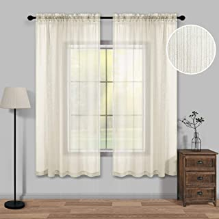 KOUFALL Beige Semi Sheer Curtains 63 Inches Long for Bedroom Set of 2 Panels Rod Pocket Linen Look Textured Curtains for Living Room 52x63 Inch Length Cream Beige