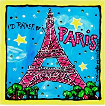 Trademark Fine Art Id Rather Be in Paris by Cherry Pie Studios, 14x14-Inch Fine Art, Multicolor