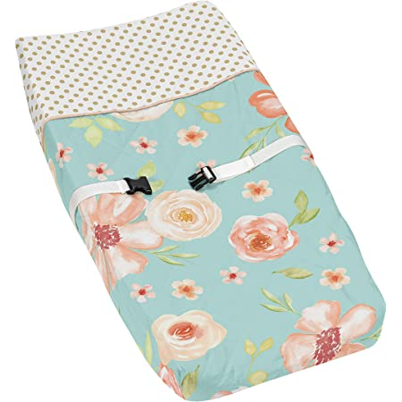 Green and Gold Changing Pad Cover for Watercolor Floral Collection Pink Rose Flower Sweet Jojo Designs Peach